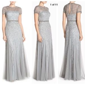 Adrianna Papell caged beaded long gown